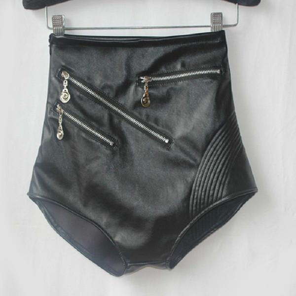 Faux Leather Women Sexy Black High Waist Stage Performance Costume For Girls Fashion Nightclub Mini Shorts