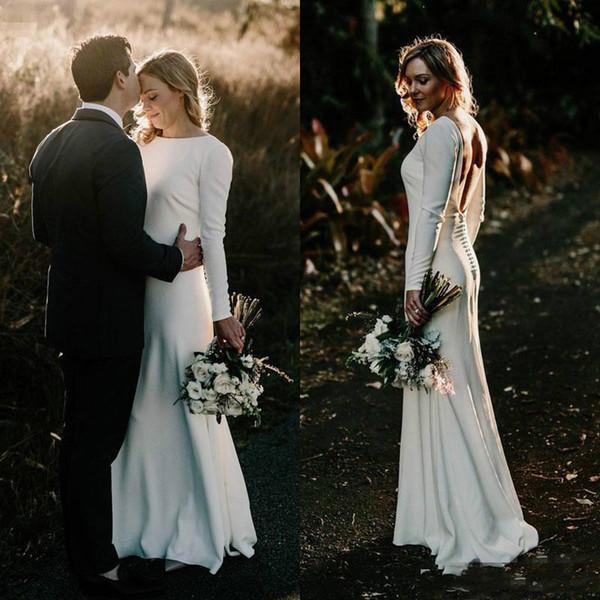 Chic Bohemian Sheath Wedding Dresses Long Sleeve 2018 Backless Cheap Simple Beach Boho Bridal Gowns Jewel Neck Satin Wedding Dress Plus Size