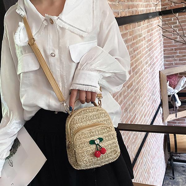 women's handbags crossbody bags for women totes Solid Color Beach bag Khaki mini Cherry Straw Shoulder Messenger Handbag #15
