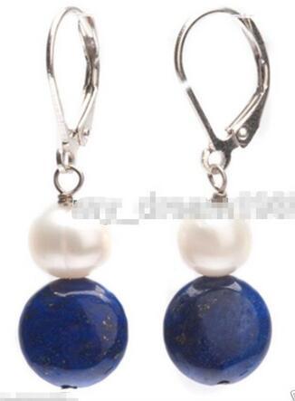 Amantes de las mujeres buena venta caliente nuevo estilo genuino blanco perla azul natural lapislázuli 925 plata Leverback pendientes