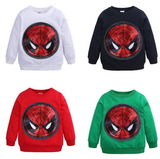 New Boy Kids Clothes Long Sleeve Round collar Paillette Spiderman Design Spring Fall T shirt 5 Colors Free Shipping