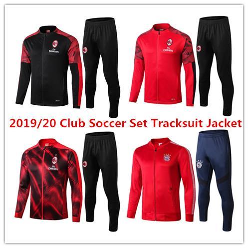 2019/20 клуб футбол набор костюм куртка AC Обучение костюм комплекты набор 19 20 Полный костюм на молнии куртки и многие команды костюмы