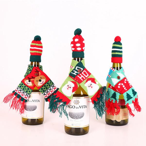 décorations bouteille de vin couverture de Noël Tricot Chapeaux et bonnet écharpe porte-bouteille de Champagne Party de Noël Table 2pcs / lot LJJA3410-4