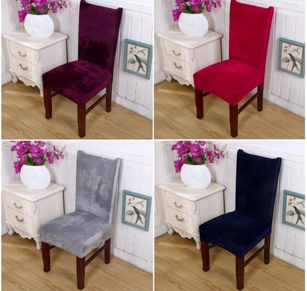 soft fox pile fabric chair covers removable stretch solid color dining room seat arm chair covers kitchen wedding party banquet slipcovers