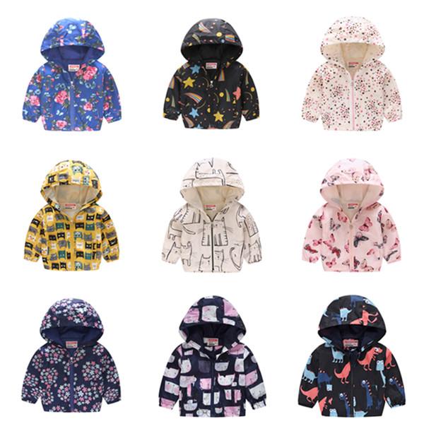 Children Summer Thin Printed Jacket Spring Long Sleeved Cartoon Thin Hooded 2-6Y Boy Girl Cute Zipper Shirt Windbreaker ULE417