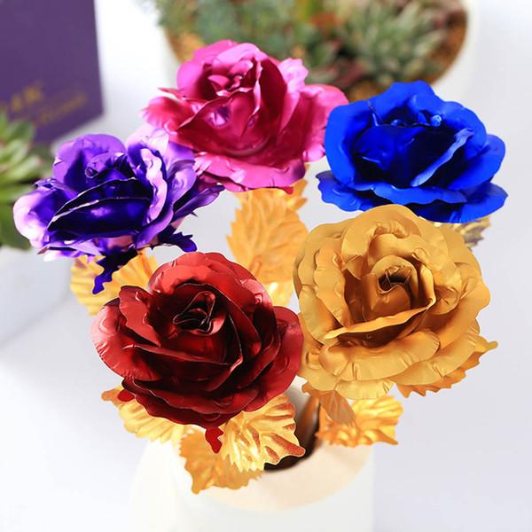 Hochzeit Valentinstag Rose Gold Folie Stamm Blatt Geburtstag Neujahr Geschenke Dekorative Blumen Ornament