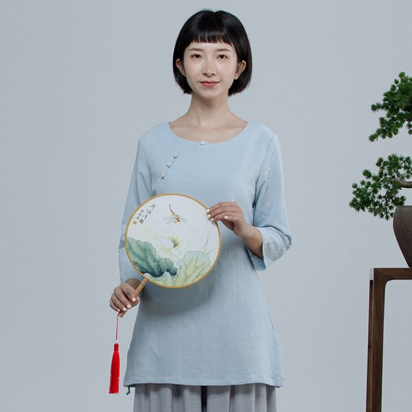 vêtements femme chemise de service longue section des vêtements en coton chinois zen chinois