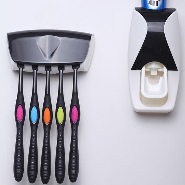1 Set Dispenser Automatico di dentifricio Set 5 Portaspazzolino Montaggio a Parete Bagno Forniture da toeletta in Nero