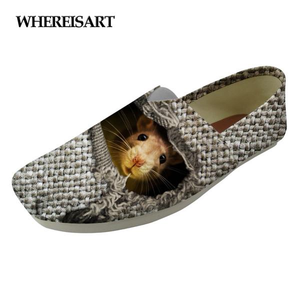 WHEREISART Mignon Animal Hamster Femmes Impression 3D Mocassins Décontractés Appartements Mode Chaussures De Toile Chaussures Femme Chaussures à lacets