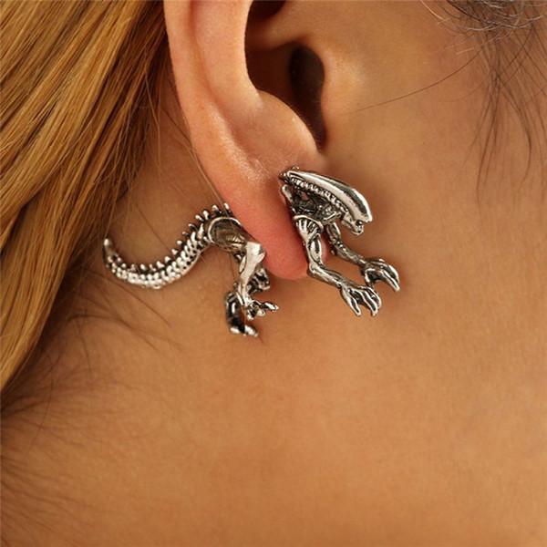 1Pair Alien Earrings Dinosaur Earring Black Enamel Stud Earrings Animal Piercing Ear Jewelry Dropshipping For Women 3 Colors