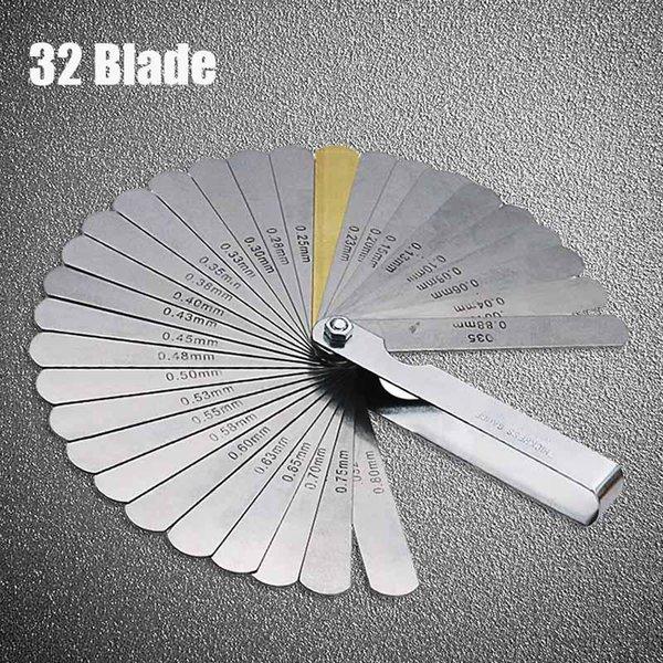 Kickstarters peças Zhuangqiao 32 lâminas calibrador de calibrador métrico filler 0.04-0.88mm ferramenta de gage para a medição da válvula de motocicleta