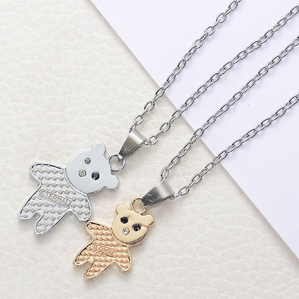 2018 Hot Sale High Quality Gold and Silver Bear Necklace Fashion Jewelry Eternal Love Lovers Pendant Double Bear Short Chain Necklace