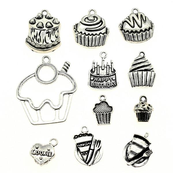 300Gram Mix Designs Antique Silver Color Zinc Alloy Cake Charms Pendant Jewelry Accessories