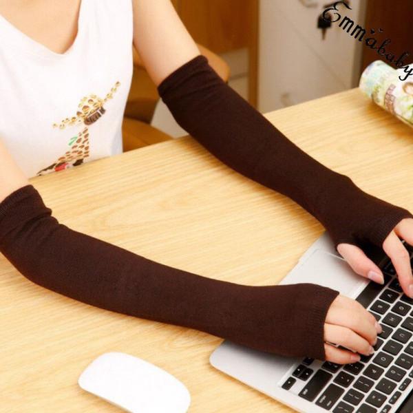 venta al por mayor 2019 nuevas mujeres elásticos de manga larga guantes sin dedos de acrílico mezcla brazo calentadores