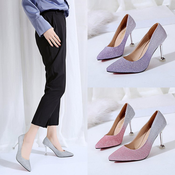 Multicolor Female Fashion Pumps Pink Purple Grey Dress Shoes Stiletto Heel Height 9cm Womens Leather High Heels