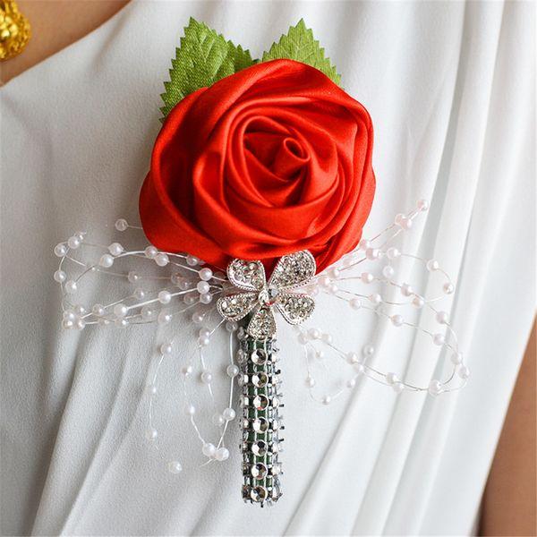 Ivory Wedding Corsages Boutonniere Groom Diamond Crystal Wedding Flowers Pearl Beaded Brooch Flowers