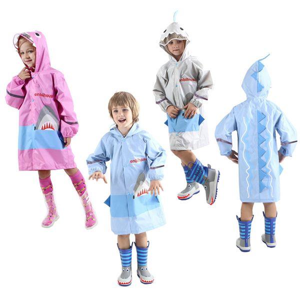 Niños Niño Niña lluvia del impermeable Chaqueta tiburón Ligera lluvia ropa impermeable del impermeable bebé ropa de verano Escudo niños paraguas