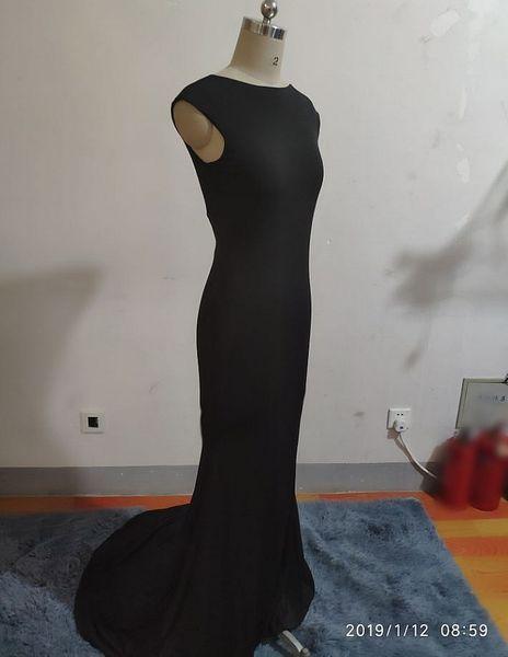 Custom Made Fancy Lady Robe De Soirée Noire Spandex Sirène Robe De Soirée Bateau Balayage Train Dos Nu Prom / robes De Soirée Corset