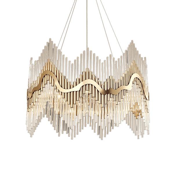 Luxury Modern Crystal Chandelier Gold Hanging Living Dining Room Lighting Fixture Luxury LED Lustres De Cristal 100-240V free UPS