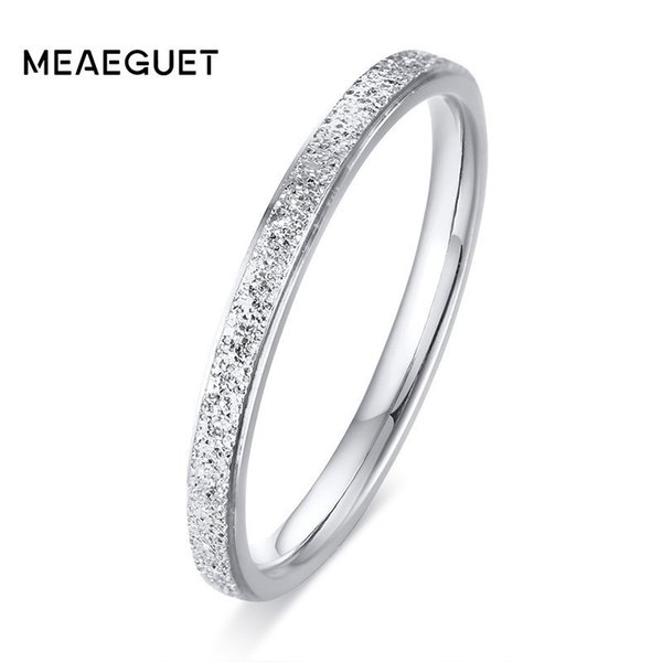 Cheap Rings Matt Thin Ring For Women Silver Rose Gold Color Charm Female Ladies Gifts US Size 4 To Size 9
