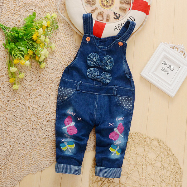 quality baby girls denim spring autumn newbron girls butterfly pattern denim bebe pants infant jumpsuit girls rompers overalls