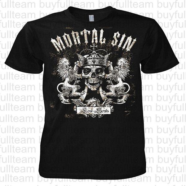 Fantasy Mortal Sin Lost Souls Printed Cotton Tee Shirts Mens Black Short Sleeves Tops Fashion Round Neck T Shirts Size S M L XL 2XL 3XL