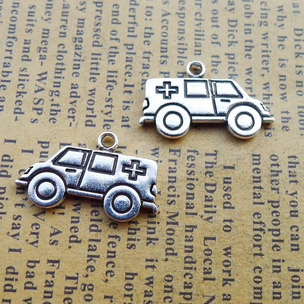 120pcs 14*22MM Antique tibetan Silver medical Ambulance charms for bracelet vintage alloy metal pendants diy earring jewelry making ornament