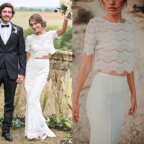 Rustic Style Country Two Piece Mermaid Wedding Dresses Full Lace New 2019 Long Bohemian Beach Boho Bridal Gowns Short Sleeves Cheap Dress