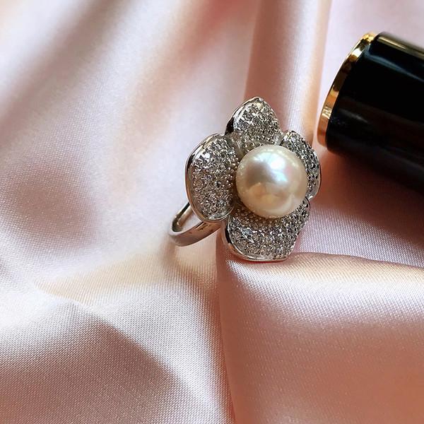 Black Friday Fashion Party Argent 925 Big Anneaux naturelles perles d'eau douce pour les femmes Bague fleur réglable haute joaillerie