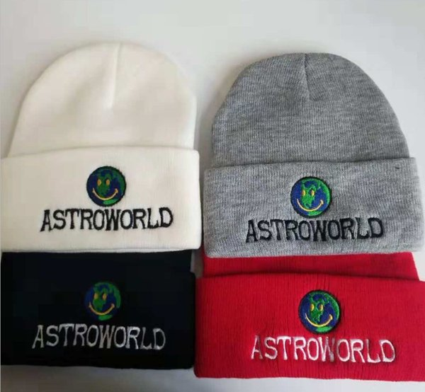 ASTROWORLD Mens Skull Caps Knit Smile Earth Embroidered Beanie 4 Colors Astroworld Winter Hats for Men Women Free Shipping