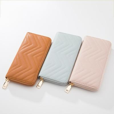 marca cartera larga moda ondulada cuero mujer bolso de embrague diseñador de lujo de alta calidad clásico bolsillo con cremallera