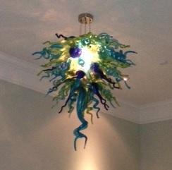 Decoración de la boda Fuente de luz de ahorro de energía Chihuly Glass Chandelier Modern Hand Blown Glass Crystal Pendant Light
