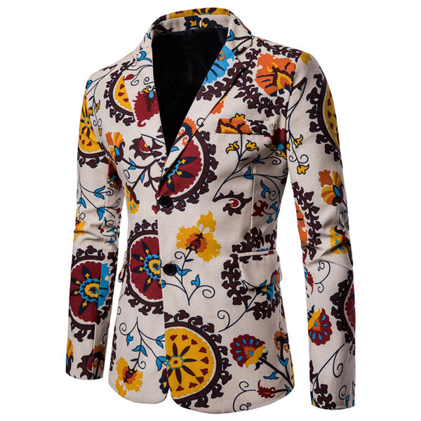 Mens Designer Blazers 2019 New Arrival Mens Print Floral Slim Fit Men Blazer African Ethnic Style Casual Blazer and Suits Mens Clothing