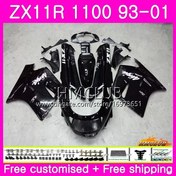 ZX-11R Para KAWASAKI NINJA ZX11R 93 94 95 96 97 98 99 01 Preto brilhante 52HM.1 ZZR1100 ZX 11R 1993 1994 1995 1996 1997 1998 1999 2001 Carenagem