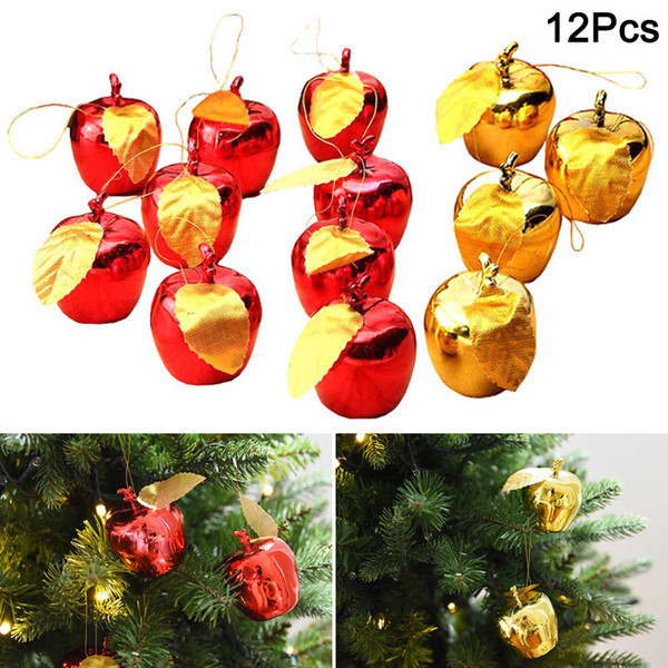 Hot 12Pcs Christmas Decoration Apples Tree Hanging Ornament Home New Year Party Events Fruit Pendant PLD