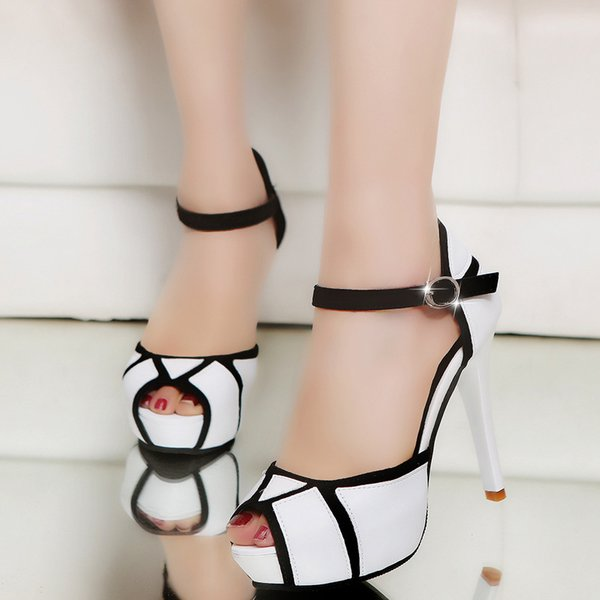 Sandalias de moda 2019 de tacón alto tacón de aguja nuevo estilo americano europeo sandalias de boca conjunta impermeable Taiwán zapatos de mujer