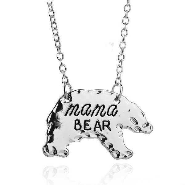 Mama Bear Necklace Mama Bear Polar bear Necklaces Silver Gold Bears Pendant Women Mother Necklace Fashion Jewelry Valentine Gift