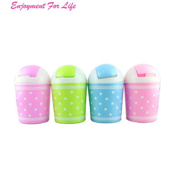 Fashion Fresh Lace Polka Dot Desktop Storage 2016 Wholesale Hot Sale Barrels Creative Mini Trash Can wit Free Shipping Dec