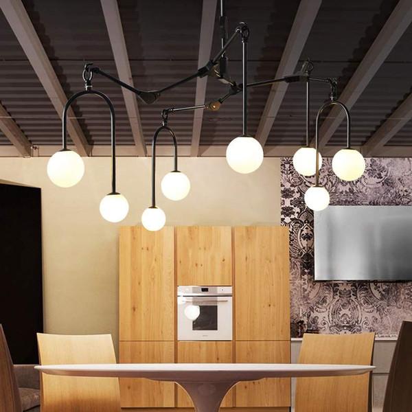 Acheter Nordic Led Lustre Lampes De Salon Moderne Américain Rétro  Restaurant Créatif Lumière Chambre Fer Forgé Lustre En Verre De Saule De  $388.95 Du ...