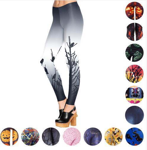 Halloween Cosplay Yoga Pants Bodycon Skinny Leggings Skull Halloween Punk Women Gym Fitness Tights Stretchy Sports Trousers Sexy