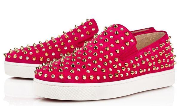 Red fondo scarpe da tennis dei pattini casuali delle donne degli uomini Low Nero Designer completa Spikes Roller barca Flats Skateboard Mocassini Lusso Uomo Donna scarpe