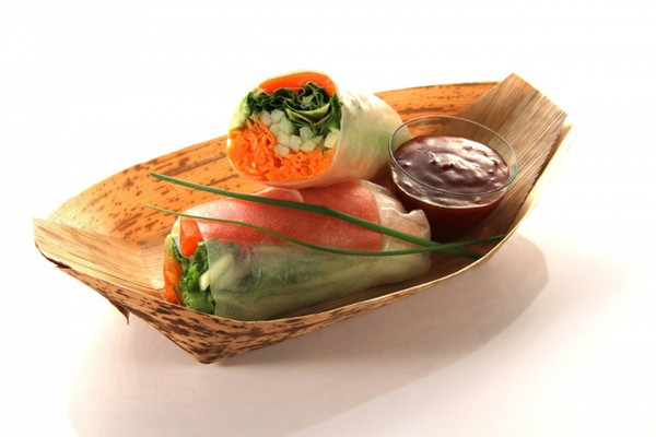 ableware restaurant Promotion - Party Wedding Disposable Supplies, Disposable Eco-Friendly Tableware, 130mm Bamboo Leaf Boat for Catering...