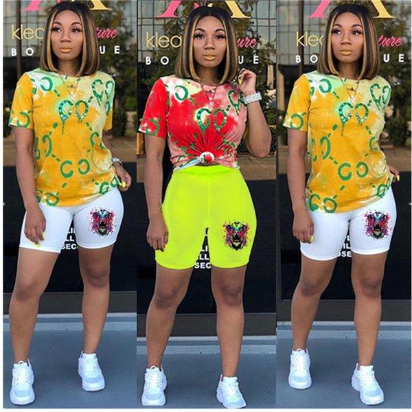 Tie-Dye Femmes Designer Survêtement D'été Deux Tenues T-shirt À Manches Courtes + Shorts Sportswear Tête De Tigre Shorts Body C62407