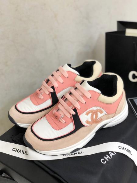 2020 nuevos zapatos de mujer superior de la manera plataforma del cuero de lujo de zapatos casuales zapatillas de deporte del zapato con cordones Spots Mujer Marca tamaño de los zapatos 35-40