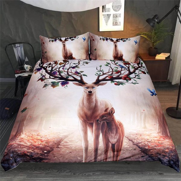 High Quality Bedding Set Single Double King Size with butterfly deer Quilt Cover for kids adult 2/3pcs Bedding Cover Suit