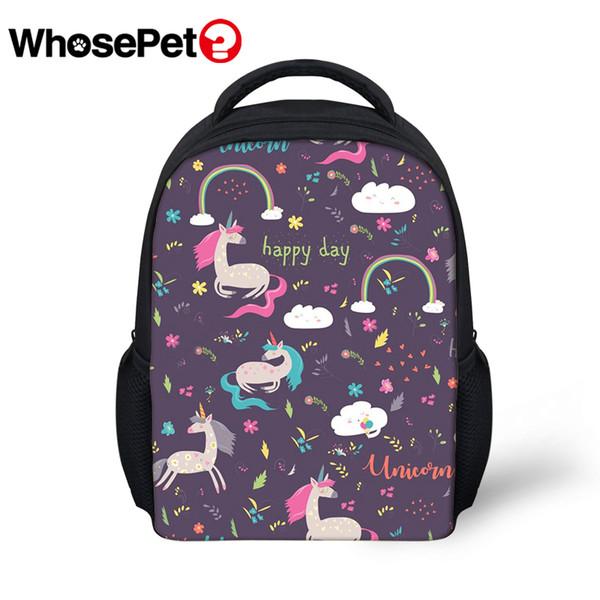 WHOSEPET New Boys BagFashion Design Prints Children School Backpack Cartoon School Bags Kindergarten Girls Unicorns Daily Bags