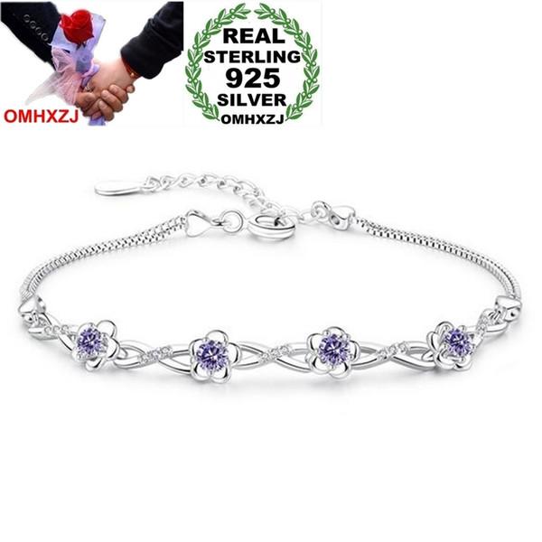 OMHXZJ Wholesale Fashion Cute Woman Girl Wedding Gift Peach Blossom White Purple Zircon 925 Sterling Silver Bracelet Bangle SZ86
