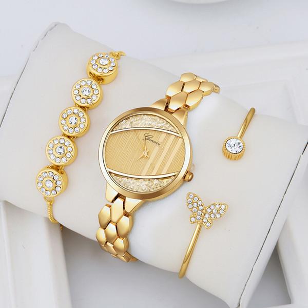 3 Unids Set Ginave Mujeres Oro Rosa Diamante Reloj Pulsera Joyería de Lujo Señoras Mujer Chica Hora Casual Relojes de pulsera de Cuarzo C19041202