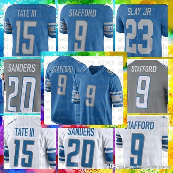1aa937f57 Top Sale 9 Matthew Stafford Detroit Lions Jersey 23 Darius Slay JR 20 Barry  Sanders 15 Golden Tate III Color Rush Football Jerseys