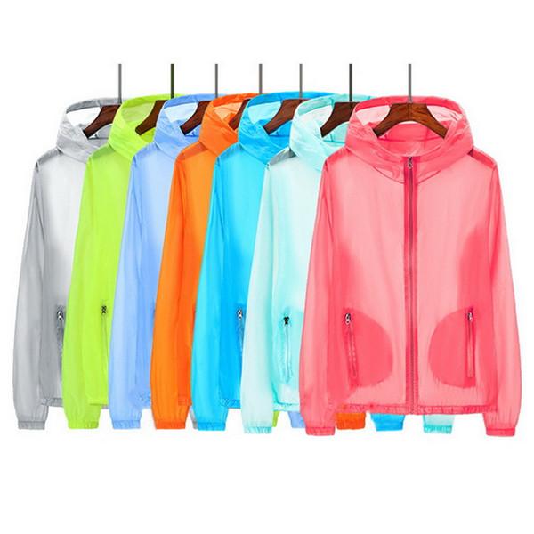 Vertvie 2019 UV Sun Protect Clothing Solid Running Tops Transparent Long Sleeve Jackets Summer Beach Wear Sunscreen Light Weight